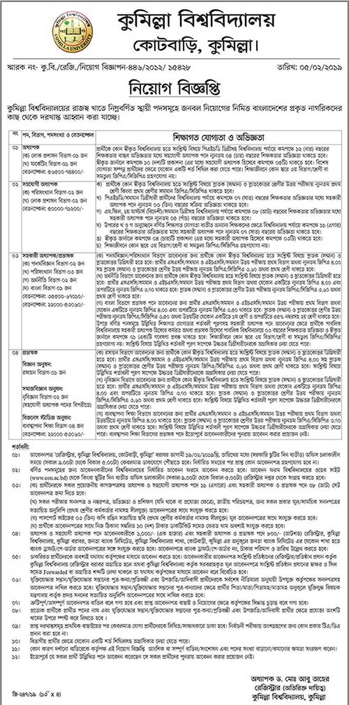 Comilla University Teaching Job Circular 2019 Has Been Published