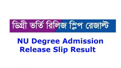 NU Degree Admission Release Slip Result