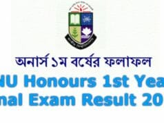 NU Honours 1st Year Final Result 2019