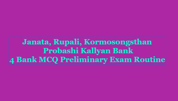 Photo of 4 Bank MCQ Preliminary Exam Routine has been published