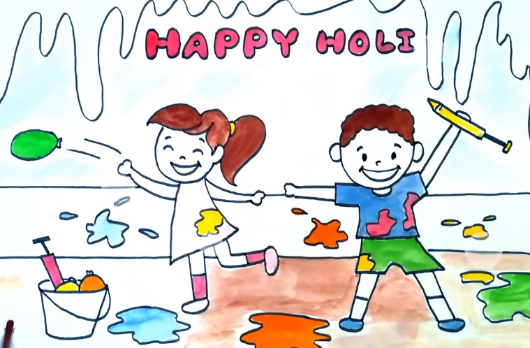 Happy Holi 2019 Drawing