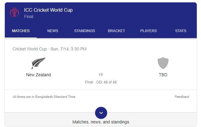 Icc Cricket World Cup Final Match 2019 Teams Bd Date