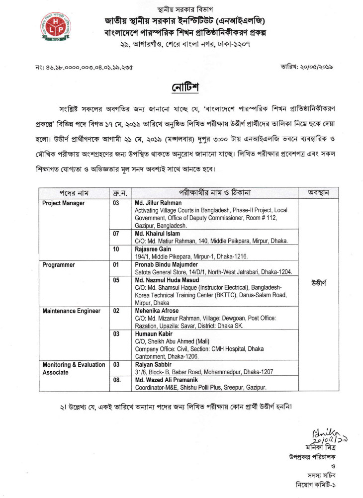 National Institute of Local Government (NILG) Job Result 2019